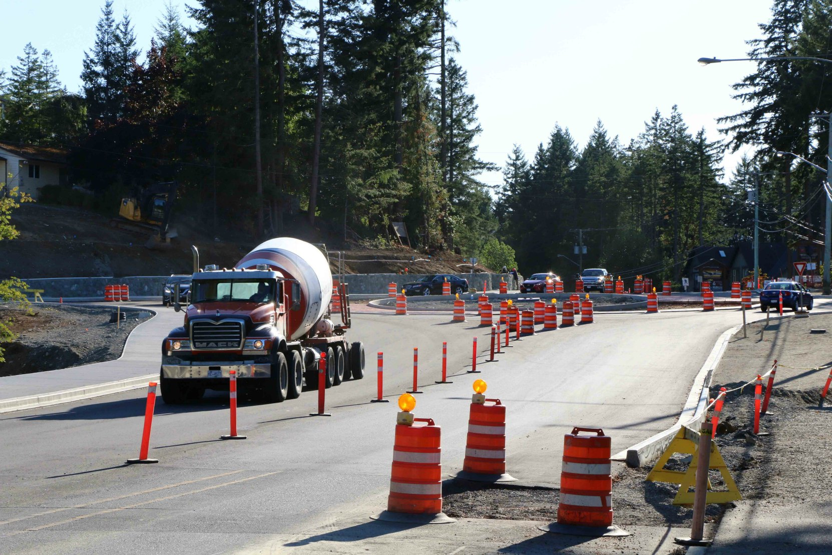 Highway construction zones in British Columbia are typically marked with Orange and Black signs, pylons and markers (photo by WestCoastDriverTraining.com)