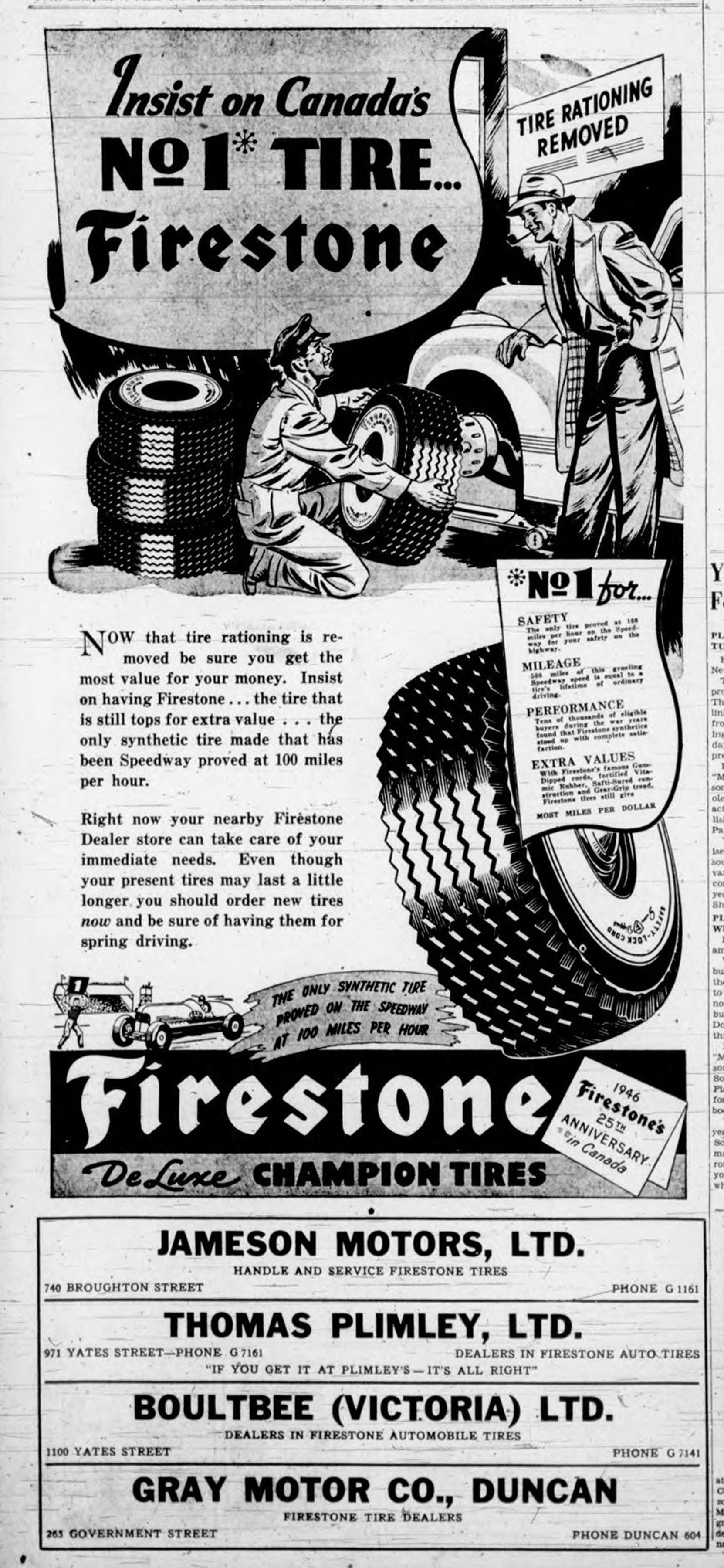 "A 1946 Victoria newspaper advertisement for Firestone tires. Note the ""Tire Rationing Removed"" in the upper right corner; tires had been rationed during World War II."