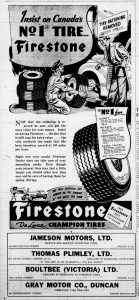 "1946 Daily Colonist advertisement for Firestone Tires.Note the upper right corner ""Tire Rationing Removed"". Tires and other automobile supplies had been rationed during World War II."