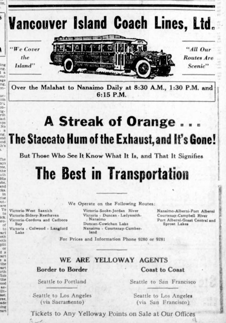 Vancouver Island Coach Lines advertisement, 1930