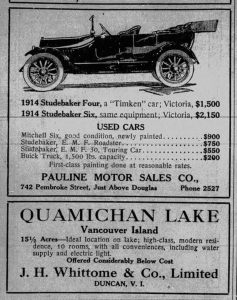 1914 Daily Colonist advertisement for Pauline Motor Sales, selling Studebaker cars.