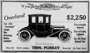 Thomas Plimley was a long established Victoria car dealer. Here is a 1914 Thomas Plimley advertisement for the 1914 Overland Coupe.
