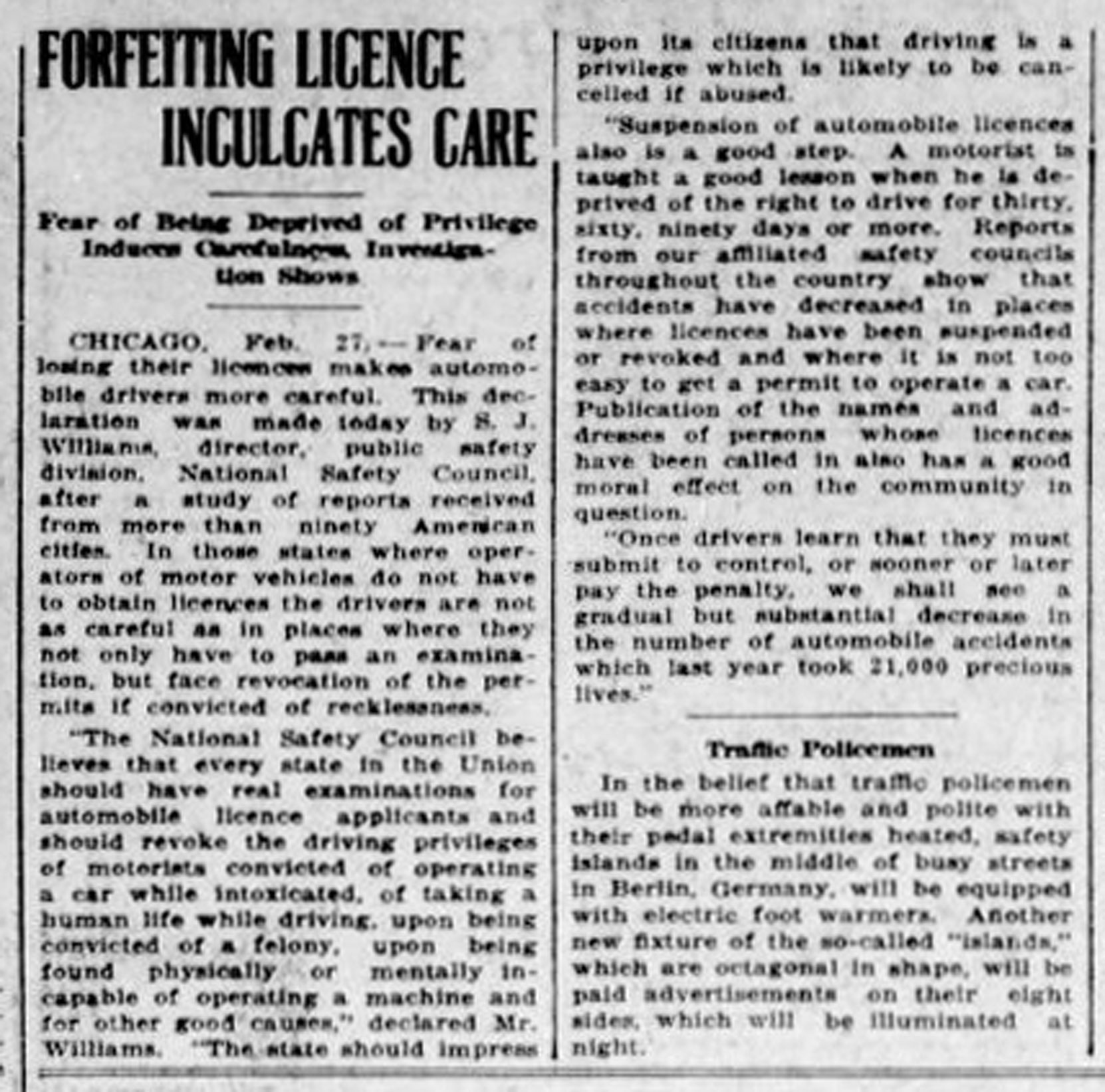 1926 article in the Daily Colonist about Driver License Suspensions