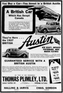 1937 advertisement for Austin. from Thomas Plimley Ltd., 1010 Yates Street, Victoria, B.C. (West Coast Driver Training & Education collection)