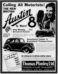 1939 advertisement for Austin. from Thomas Plimley Ltd., 1010 Yates Street, Victoria, B.C. (West Coast Driver Training & Education collection)