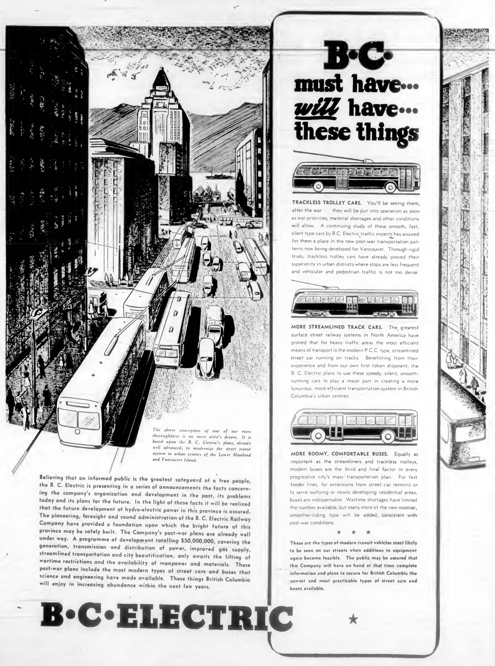 1944 advertisement from B.C. Electric (the forerunner to BC Hydro and BC Transit) showing the buses and streetcars the company was planning to introduce in B.C. cities. (West Coast Driver Training collection)