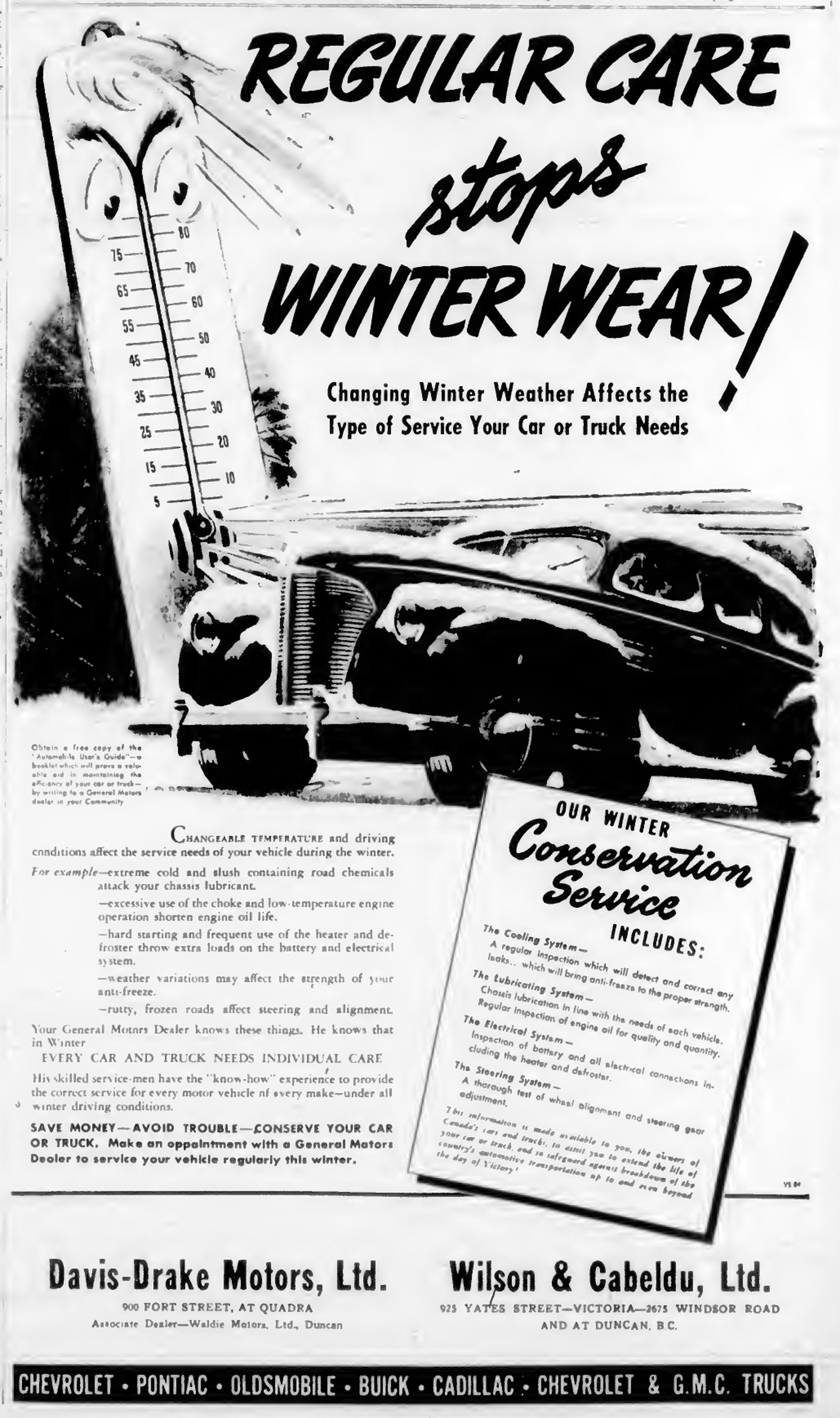 1944 advertisement about winter maintenance from Davis-Drake Motors and Wilson & Cabeldu, which were General Motors dealers in Victoria and Duncan. (West Coast Driver Training collection)