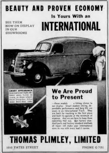 1939 advertisement for International trucks from Thomas Plimley Ltd., 1010 Yates Street, Victoria, B.C. (West Coast Driver Training & Education collection)