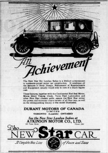 1926 advertisement for Durant Star from Atkinson Motor Company Thomas Plimley Ltd., 809 Yates Street, Victoria, B.C. (West Coast Driver Training & Education collection)