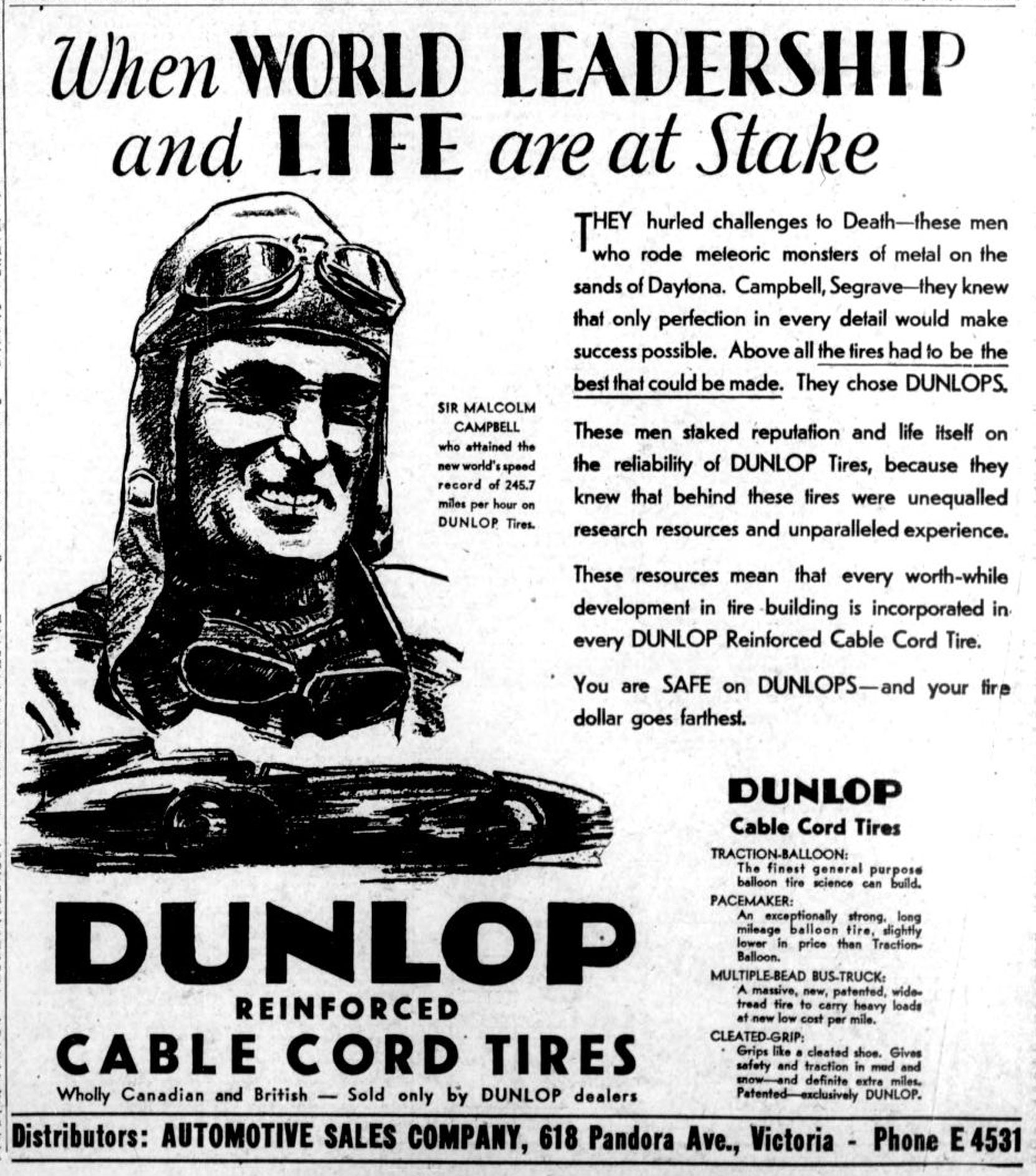 1931 advertisement for Dunlop Tires, featuring British racing driver Sir Malcolm Campbell (West Coast Driver Training collection)