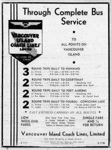 1935 advertisement for Vancouver Island Coach Lines showing schedules to up-Island points from Victoria. (West Coast Driver Training collection)