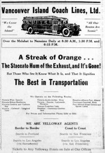 1930 advertisement for Vancouver Island Coach Lines showing schedules between Victoria and Nanaimo. (West Coast Driver Training collection)