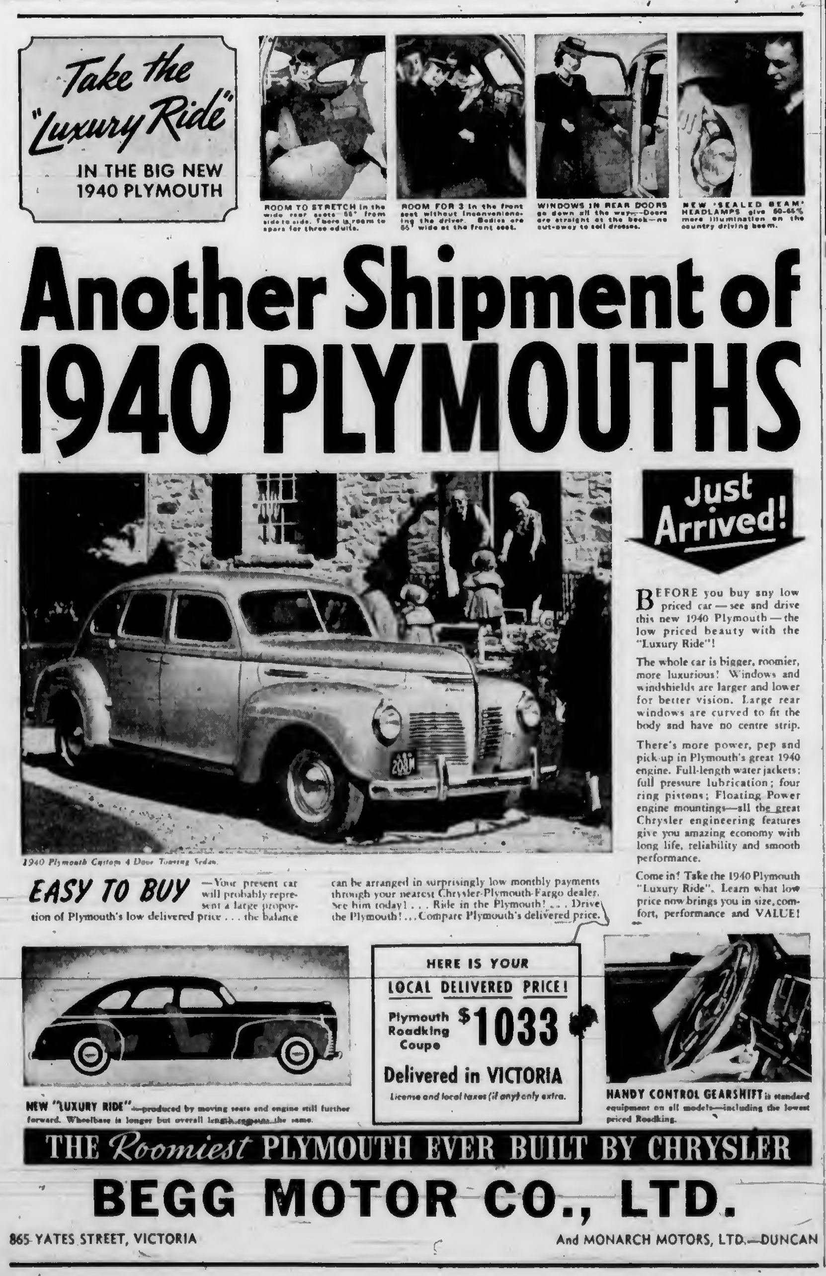 1940 advertisement for Plymouth, sold by Begg Motor Company, 865 Yates Street, Victoria and on Government Street in Duncan.