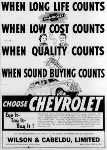 1940 advertisement for Chevrolet, sold by Begg Motor Company, 865 Yates Street, Victoria and on Government Street in Duncan.