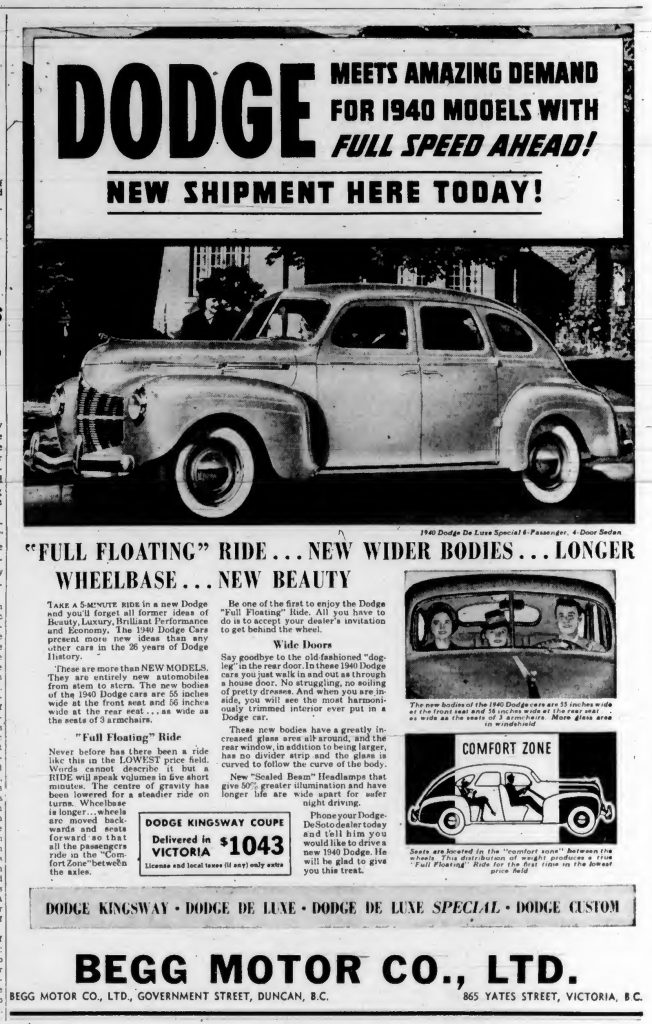 1940 advertisement for Dodge, sold by Begg Motor Company, 865 Yates Street, Victoria and on Government Street in Duncan.