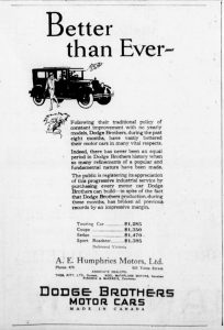 1926 advertisement for Dodge Brothers Motor Cars, sold in Victoria by A.E. Humphries Motors and in Duncan by Thomas Pitt, a former Mayor of Duncan.