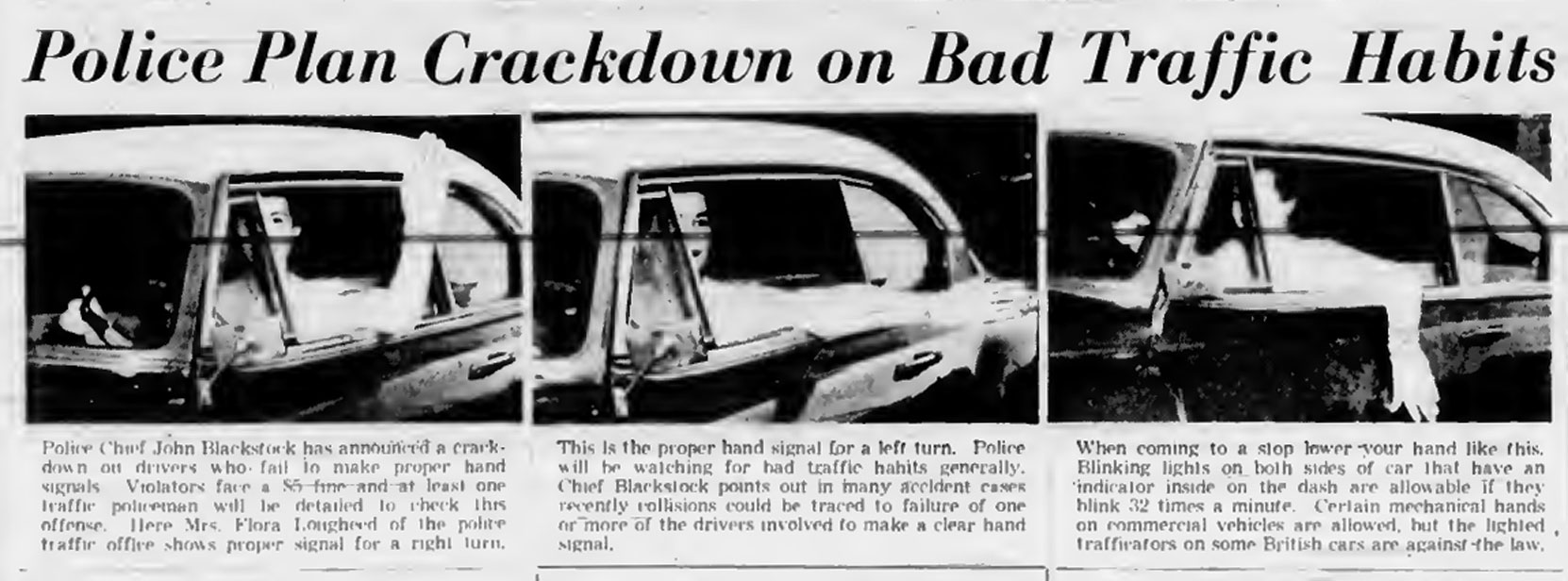 Victoria newspaper story about a planned police crackdown on drivers not using hand signals, 1954.