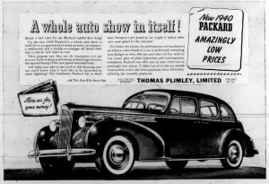 1940 advertisement for Packard, sold by Thomas Plimley Limited, 1010 Yates Street, Victoria