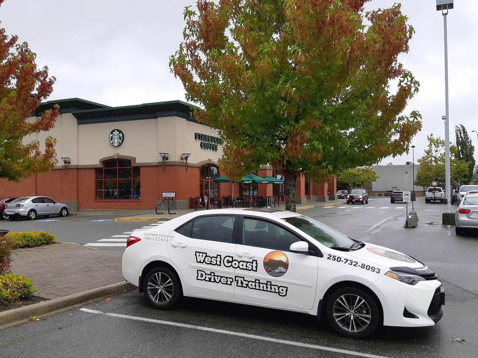 Our 2018 Toyota Corolla parked outside the Starbucks / Chapters, Woodgrove Centre, Nanaimo, B.C. (photo: West Coast Driver Training & Education Inc.)