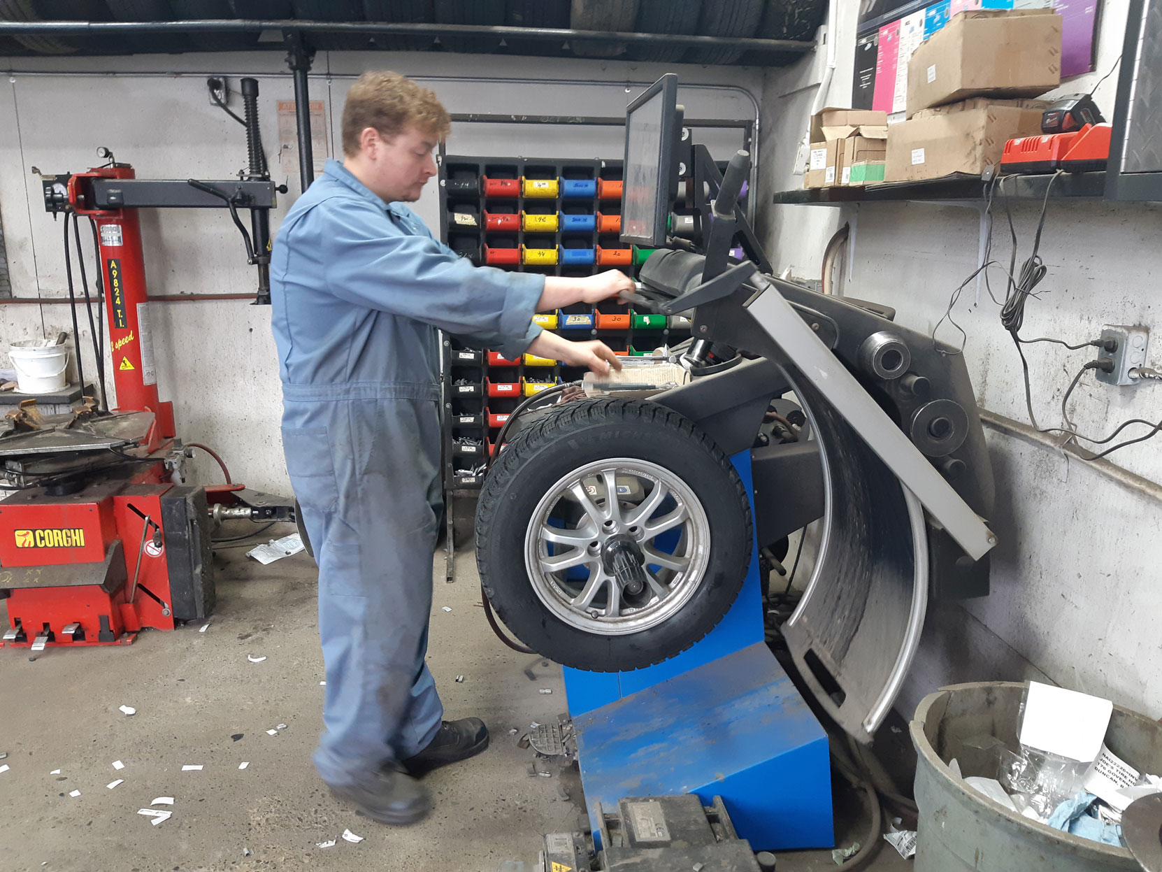 A new set of Michelin winter tires being installed on the rims of our 2020 Prius Prime at Joe's Tire Hospital in Duncan, October 2020 (photo: West Coast Driver Training)