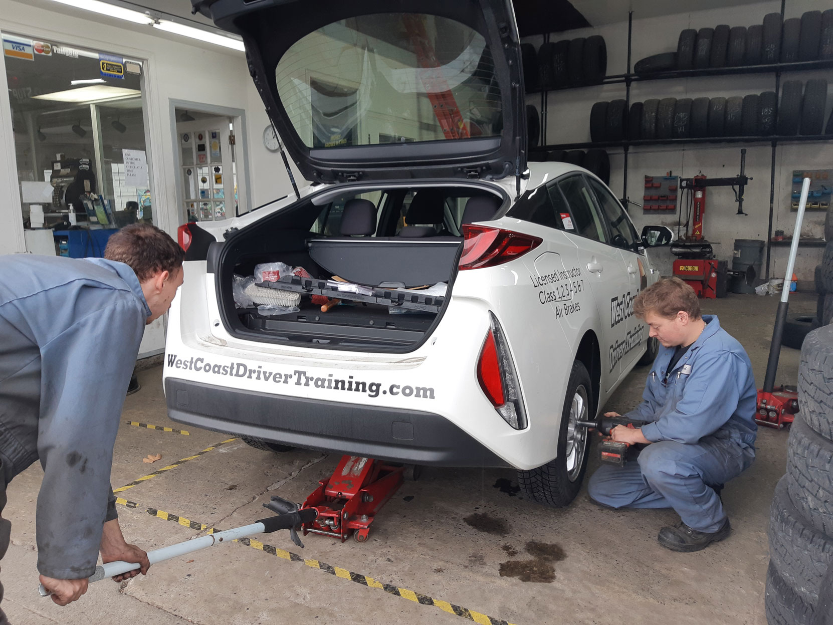 Our 2020 Prius Prime having a new set of Michelin winter tires put on at Joe's Tire Hospital in Duncan, October 2020 (photo: West Coast Driver Training)