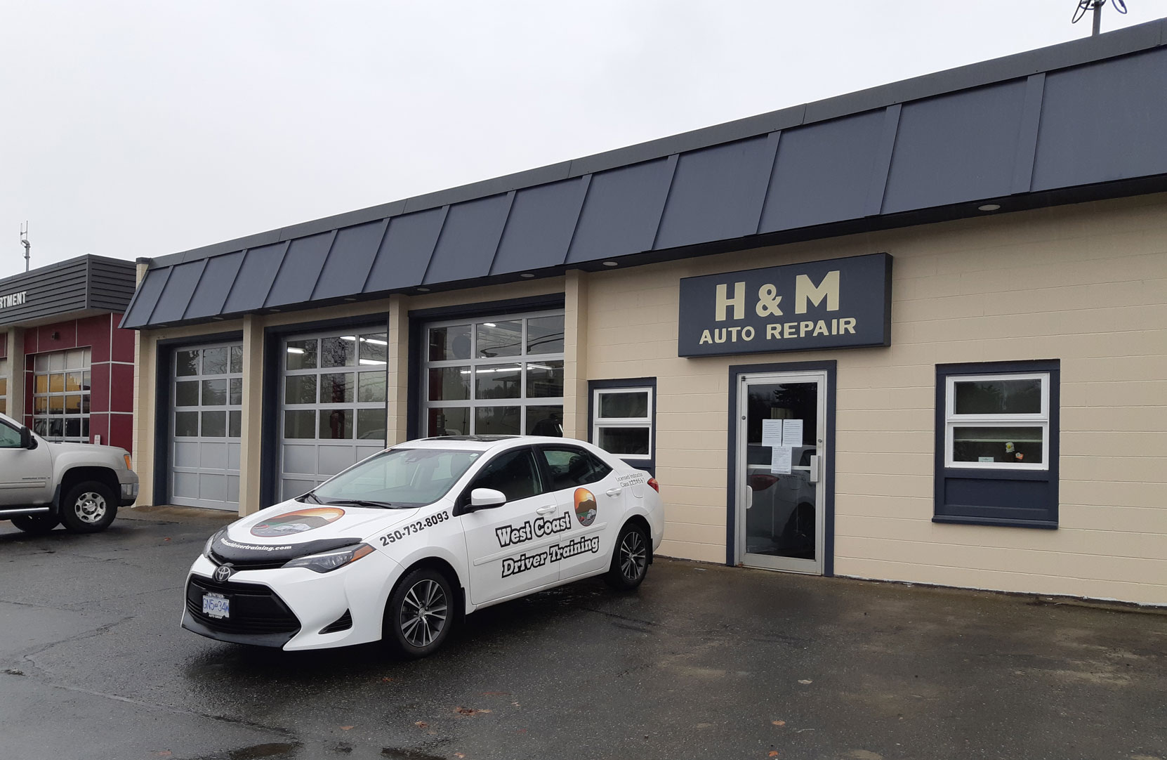 Our 2018 Toyota Corolla outside H & M Auto Repair, Duncan Street in downtown Duncan. (photo: West Coast Driver Training)