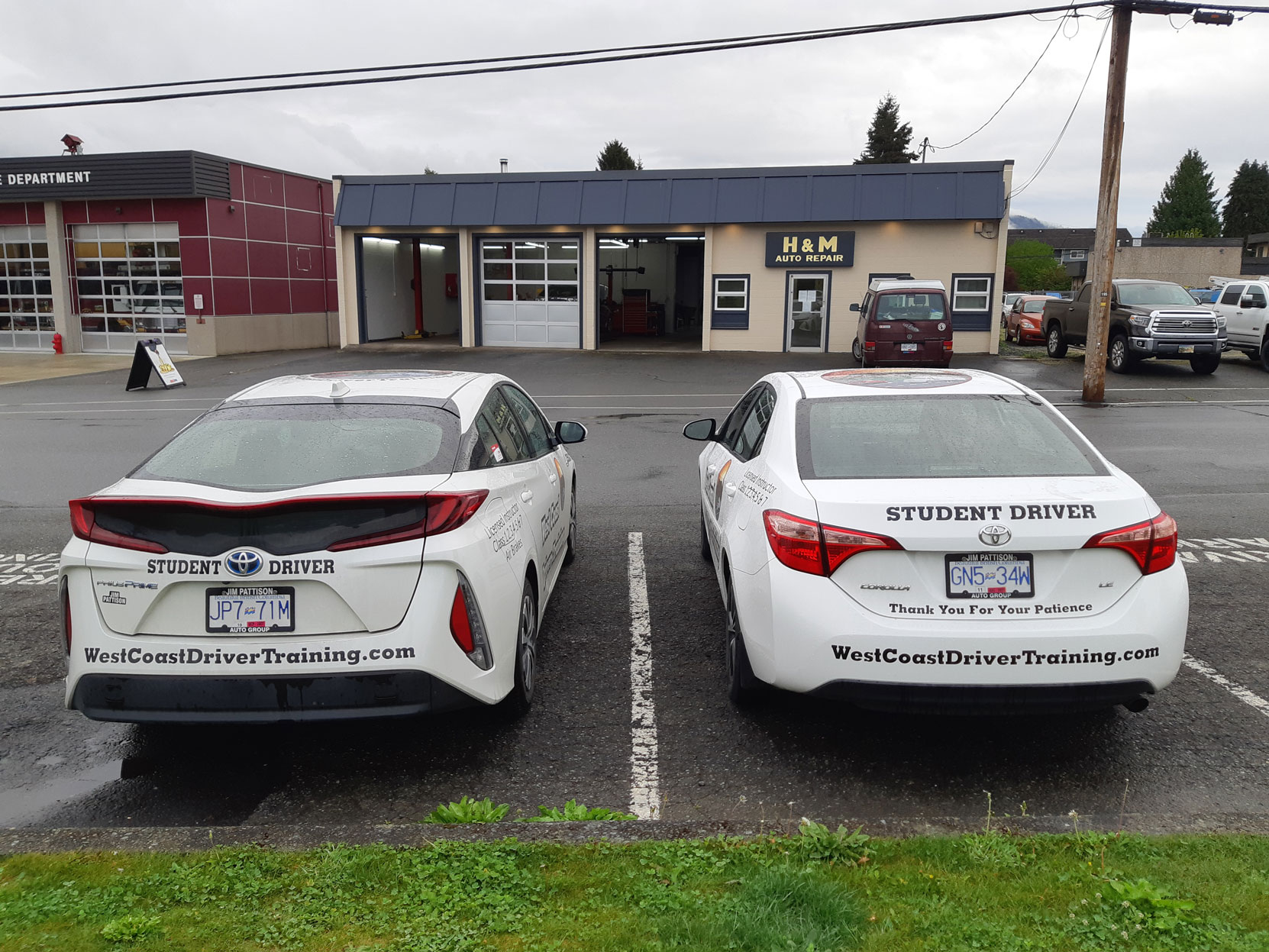 Two of our training cars waiting for their regular scheduled service at H&M Auto Repair, April 2021 (photo: West Coast Driver Training)