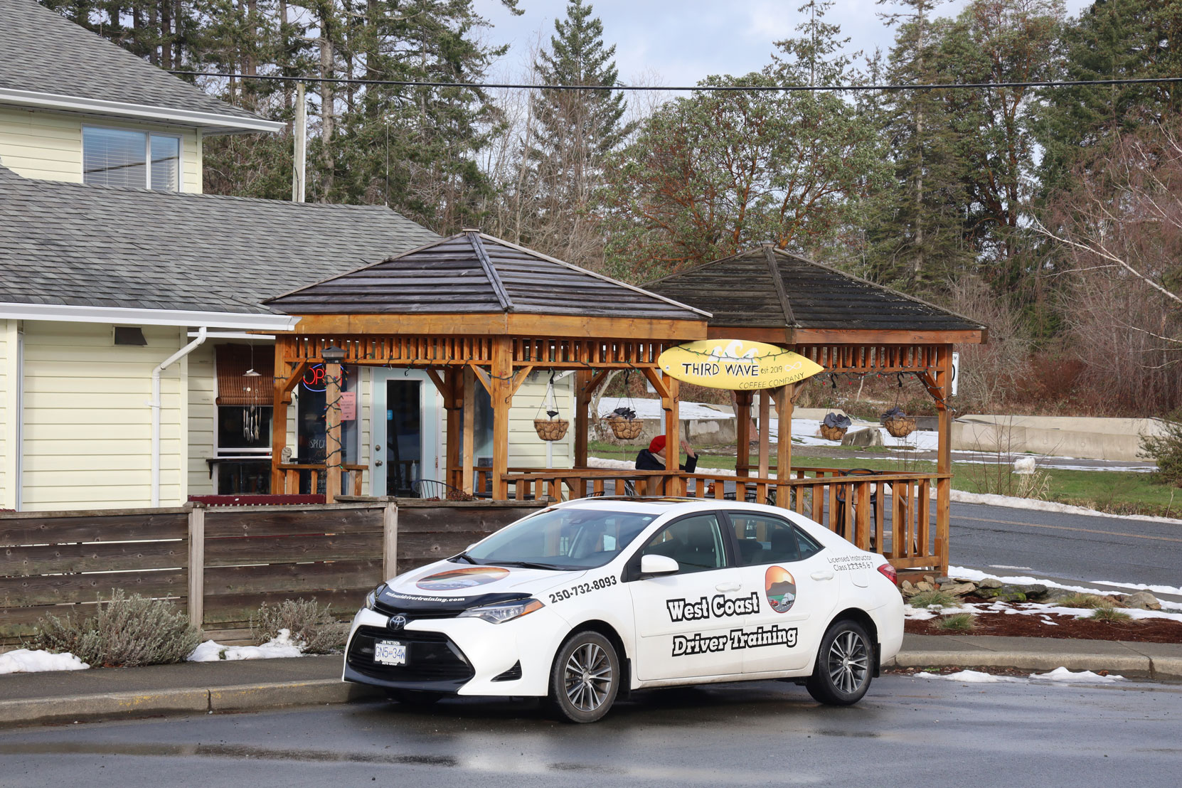 Our 2018 Toyota Corolla in fron of the Third Wave Coffee Company near the Crofton ferry (photo: West Coast Driver Training)