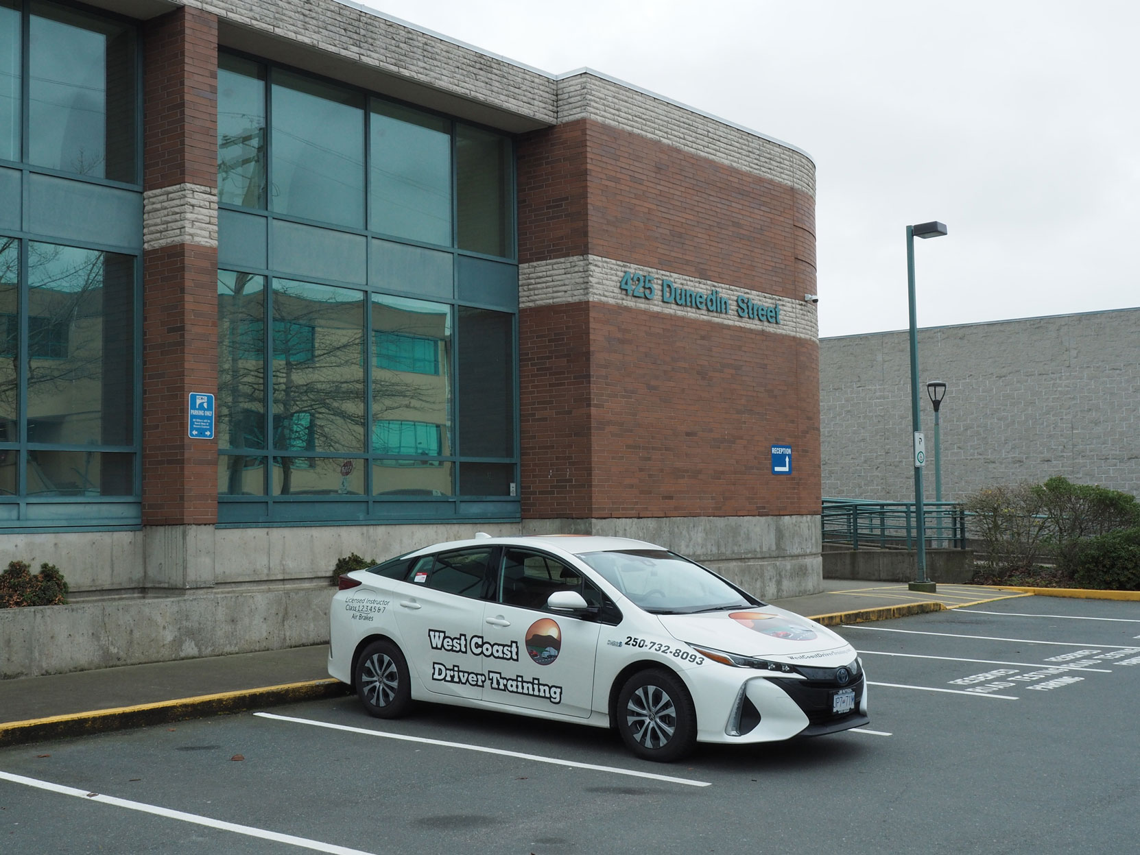 Our 2020 Toyota Prius Prime at the ICBC Driver Licensing office, 426 Dunedin Street, Victoria, BC (photo: West Coast Driver Training)