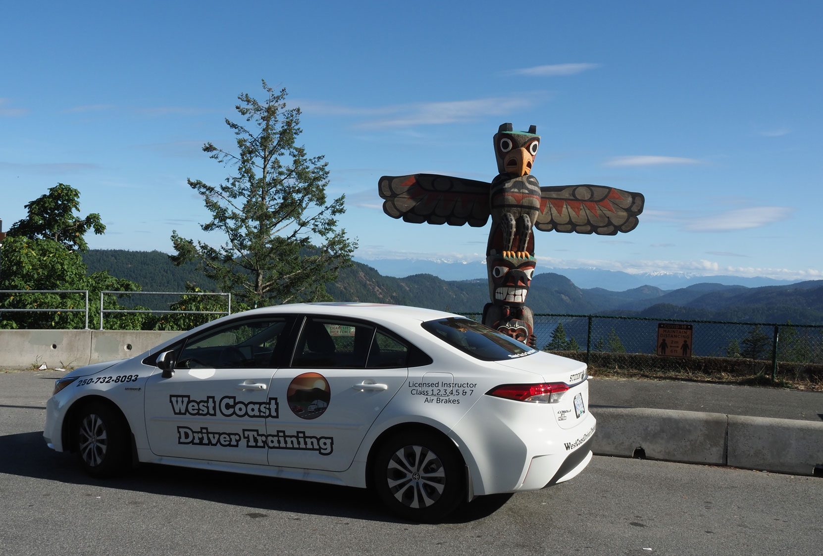Our 2021 Toyota Corolla Hybrid at the Malahat Summit Viewpoint. (photo: West Coast Driver Training)
